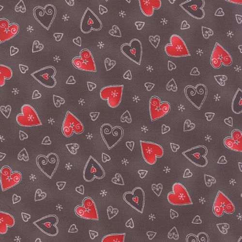 Moda JOL Brown Hearts Patchwork Fabric